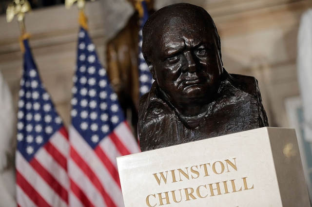 Kerry And Roger Daltrey Lead Ceremony Dedicating Bust Of Winston Churchill At Capitol