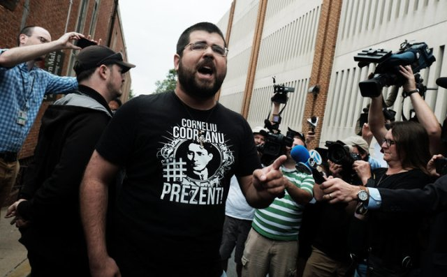 White nationalist leader Heimbach screams at media outside Charlottesville courthouse in defense of Fields as a bail hearing is held in Charlottesville