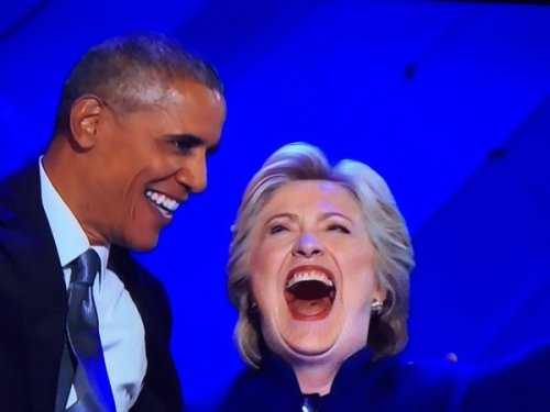 Hillary's hole, with Obama at DNC, July 27, 2016