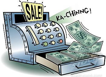 US dollar bills in a cash register