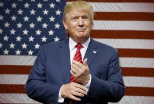 President Trump and flag